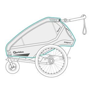 Qeridoo Regenschutz für Kidgoo Fahrradanhänger ab 2020 Modelle Zweisitzer