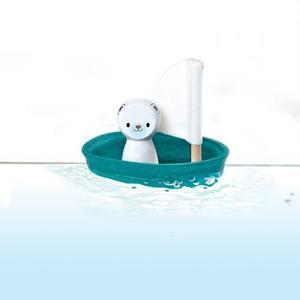 PlanToys Badewannenspielzeug Boote Segelboot Eisbär