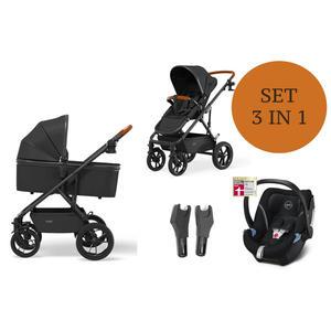 Moon Nuova Kinderwagen Set 3 in 1 inkl. Babyschale Modell 2021 Black Soho Grey