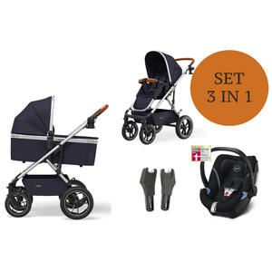 Moon Nuova Kinderwagen Set 3 in 1 inkl. Babyschale Modell 2021 Air Navy Deep Black