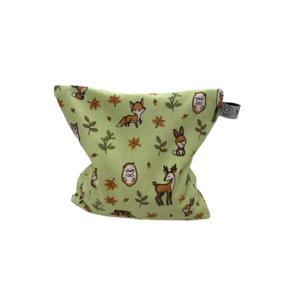 Traubenkernkissen Waldtiere hellgrün 19x19 cm