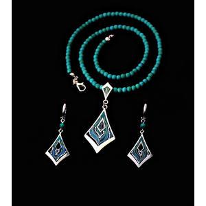 Halskette & Ohrringe von Cloisonne Enamel, Handarbeit, Unikat