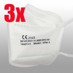 3 Stück FFP2 Masken (5-lagig) mit Ohrbändern