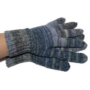 Handgestrickte Handschuhe Fingerlinge jeans Größe 6 - 8
