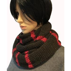 Bunter, warmer Schal, Loop in braun und rot mit Glitzerfaden