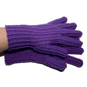Handgestrickte Handschuhe Fingerlinge lila mit Strukturmuster Größe 6 - 7
