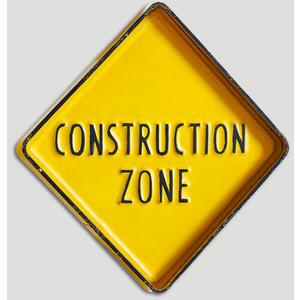 Wand Deko Schild Construction Zone