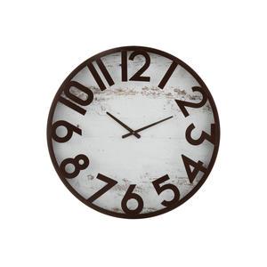 Uhr Wanduhr mit Holz Grund und Eisen Ziffern Braun/Weiß