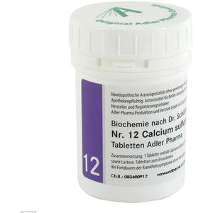Schüßler Tabletten Nr. 12 Calcium Sulfuricum D 6 Adler Pharma 100 g
