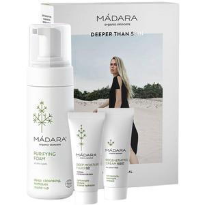Mádara Travel Set Become Organic SET (Purifying Foam 150ml + Deep Moisture Fluid 25ml + Regenerating Night Cream 25ml), 1 Set