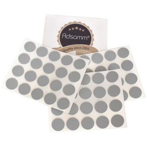 60 x Abdeckkappen | Ø 13 mm | Grau hell | rund | 0,45 mm dünne selbstklebende Möbelpflaster von Adsamm®