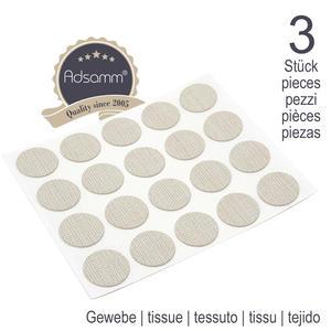 60 x Abdeckkappen | Ø 13 mm | Gewebe | rund | 0,45 mm dünne selbstklebende Möbelpflaster von Adsamm®