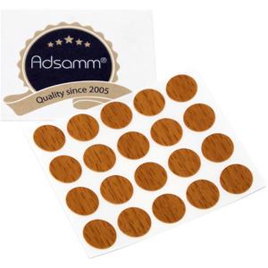 20 x Abdeckkappen | Ø 13 mm | Walnuss | rund | 0,45 mm dünne selbstklebende Möbelpflaster von Adsamm®