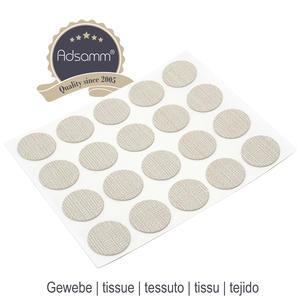 20 x Abdeckkappen | Ø 13 mm | Gewebe | rund | 0,45 mm dünne selbstklebende Möbelpflaster von Adsamm®