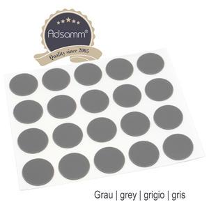 20 x Abdeckkappen | Ø 13 mm | Grau dunkel | rund | 0,45 mm dünne selbstklebende Möbelpflaster von Adsamm®