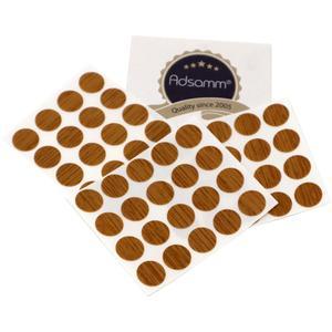 60 x Abdeckkappen | Ø 13 mm | Eiche | rund | 0,45 mm dünne selbstklebende Möbelpflaster von Adsamm®