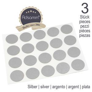 60 x Abdeckkappen | Ø 13 mm | Silber | rund | 0,45 mm dünne selbstklebende Möbelpflaster von Adsamm®