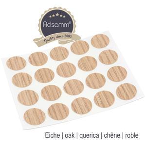 20 x Abdeckkappen | Ø 13 mm | Eiche hell | rund | 0,45 mm dünne selbstklebende Möbelpflaster von Adsamm®