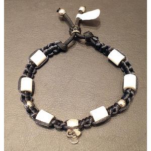 Zeckenschutz Halsband mit EM-Keramik, Totenkopf und Schmuckperlen ~ Umfang 22 cm bis 32 cm - SCHWARZ - verstellbar