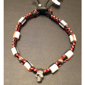 Zeckenschutz Halsband mit EM-Keramik, Totenkopf und Schmuckperlen ~ Umfang 30 cm bis 40 cm - SCHWARZ / ROT - verstellbar