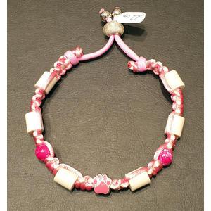 Zeckenschutz Halsband mit EM-Keramik, Pfötchen ROSA ~ Umfang 22 cm bis 32 cm - verstellbar
