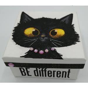 Box - Aufbewahrungs- / Geschenkbox 10 x 10 x 5,5 aus Karton - EINZELSTÜCK - Handgestaltet - Made in Austria