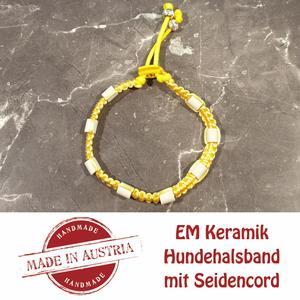 Zeckenschutz & Ungeziffer ~ Halsband mit EM-Keramik ~ Umfang 30 cm bis 40 cm - GELB - stufenlos verstellbar