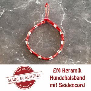 Zeckenschutz & Ungeziffer ~ Halsband mit EM-Keramik ~ Umfang 22 cm bis 32 cm - ROT - stufenlos verstellbar
