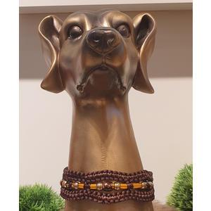Paracord Halsband mit Perlen ~ Umfang 30 cm - BRAUN - mit Clipverschluss
