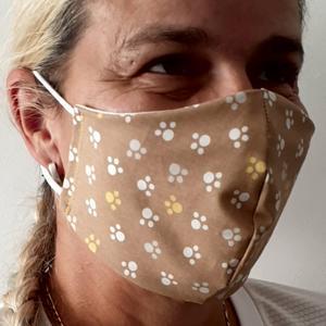 VERSTELLBARE Nase~Mund~Maske Baumwolle ~ 2 lagig ~ bei 60 ° waschbar ~ bügelbar ~ PFÖTCHEN ~ Stoffmaske ( Schutzmaske, NMS Schutz, Atemschutzmaske, MNS )