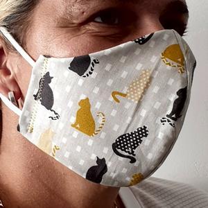 VERSTELLBARE Nase~Mund~Maske Baumwolle ~ 2 lagig ~ bei 60 ° waschbar ~ bügelbar ~ KATZE ~ Stoffmaske ( Schutzmaske, NMS Schutz, Atemschutzmaske, MNS )