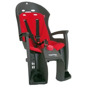 Kindersitz Hamax Siesta grau/rot für Gepäckträgermontage.