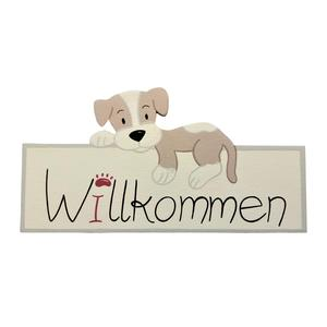"""Willkommensschild mit braunem Hund und bordeaux-rotem """"I"""", für die Eingangstür"""