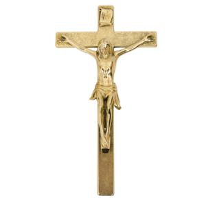 Kruzifix / Kreuz zum Aufhängen aus Messing