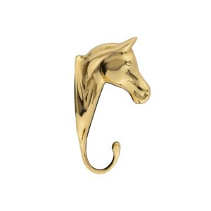 Kleiderhaken Motiv Pferdekopf Messing poliert lackiert
