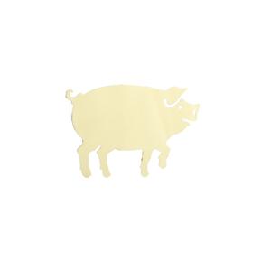 Dekorklammer mit Schwein vermessingt