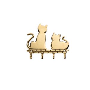 """Schlüsselleiste """"Katzen"""" Messing poliert"""