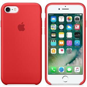 Originalverpackt Apple Silikon Mikrofaser Cover Hülle für iPhone 8 / 7 - Rot