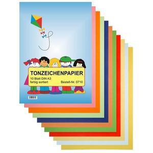 TSI Tonzeichenpapier A3 - 10 Blatt farbig sortiert