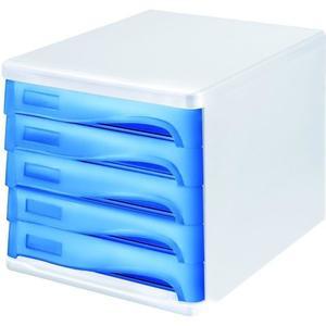helit Schubladenbox, 5 Schubladen, weiß/blau