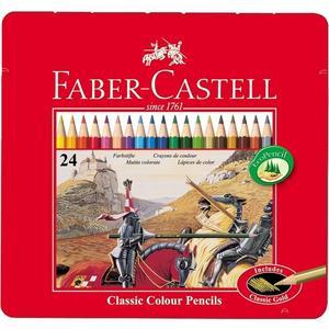 FABER-CASTELL Hexagonal-Buntstifte CASTLE, 24er Metalletui