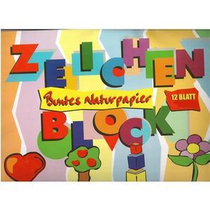 ÖKO-PLUS Buntes Naturpapier - Zeichenblock 12 Blatt 34x48cm