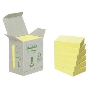 Post-it Haftnotizen Recycling, 38 x 51 mm, gelb 6 x 100 Blatt