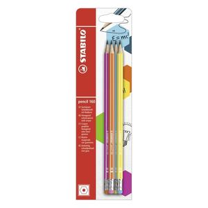 Bleistift mit Radierer - STABILO pencil 160 in pink, blau, orange, gelb - Härtegrad HB - 4er Pack