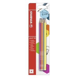 Bleistift - STABILO pencil 160 in pink, blau, orange, gelb - Härtegrad HB - 4er Pack