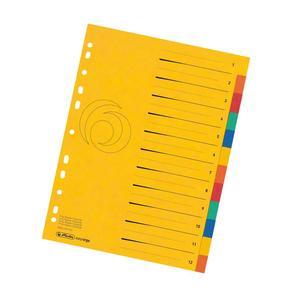 herlitz Karton-Register easyorga, A4+ Überbreite, 12-teilig