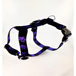 Hundebrustgeschirr Tatzen lila-schwarz small