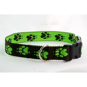 Hundehalsband Tatzen grün large