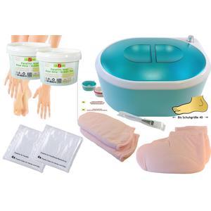 ParaffinTherapie - ParaffinSet: ParaffinBad Set (Wachs) , mit Zubehör, Hände, Füße + Erwärmer, PREMIUM QUALITY - ALOE VERA 2x 500ml - geeignet für Schuhgrößen bis 40