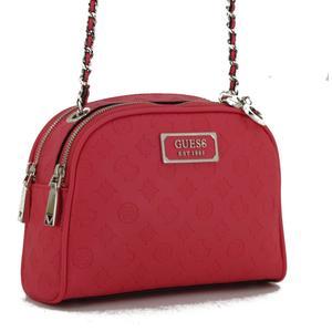 Guess Schultertasche Hibiscus Logo Love Pink Anhänger